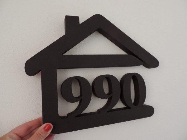súpisné číslo na dom v tvare domčeka - 3 číslice - palysander