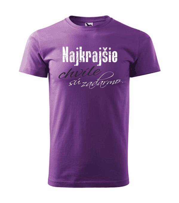 pánske tričko - najkrajšie chvíle sú zadarmo farba fialová 64