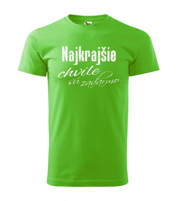 pánske tričko - najkrajšie chvíle sú zadarmo farba zelené jablko 92