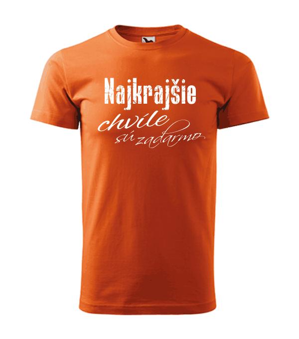 pánske tričko - najkrajšie chvíle sú zadarmo farba oranžová 11