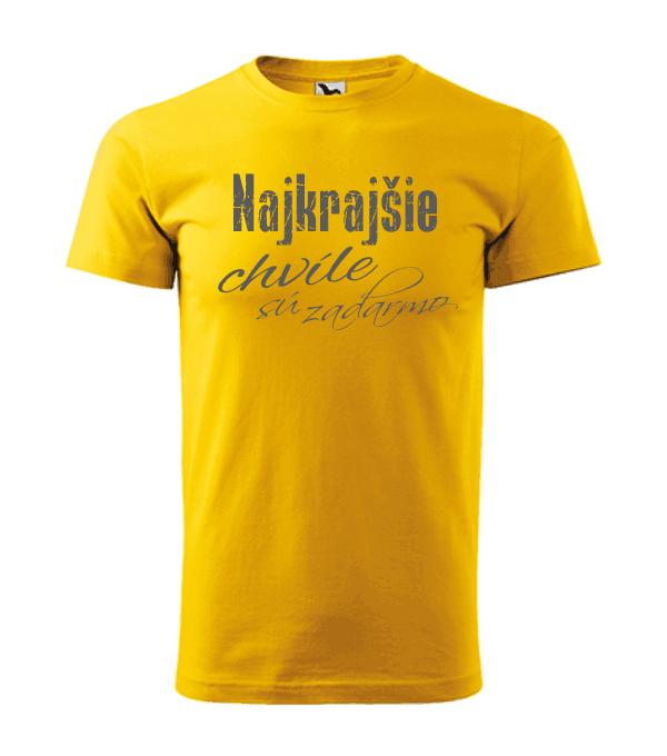 pánske tričko - najkrajšie chvíle sú zadarmo farba žltá 04