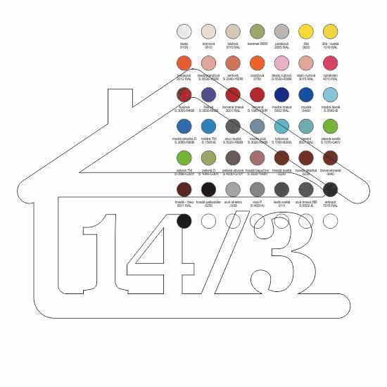 súpisné číslo na dom v tvare domčeka - 4 číslice - farba podľa vzorkovníka