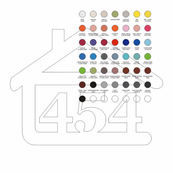 súpisné číslo na dom v tvare domčeka - 3 číslice - farba podľa vzorkovníka