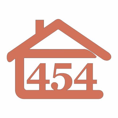 súpisné číslo na dom v tvare domčeka - 3 číslice - farba tehlová