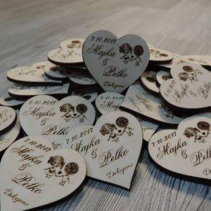 Drevené svadobné magnetky typ 14