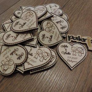 Drevené svadobné magnetky typ 4