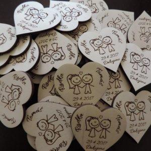 Drevené svadobné magnetky typ 5