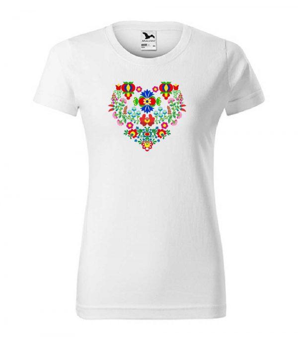 dámske tričko - Slovakia folk - biele tričko farebný motív