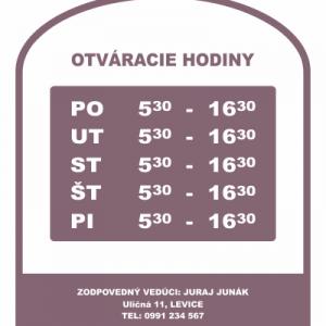 Otváracie hodiny, farba fialová, typ 002