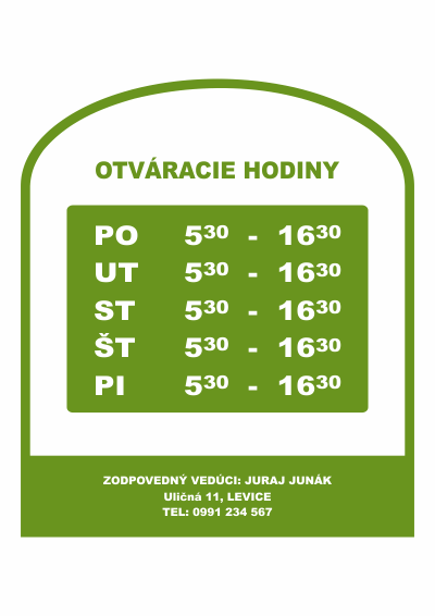 Otváracie hodiny, farba zelená, typ 002