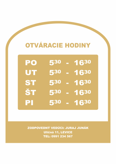 Otváracie hodiny, farba zlato hnedá, typ 002