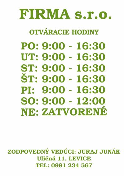 Otváracie hodiny, farba zelená, typ 005