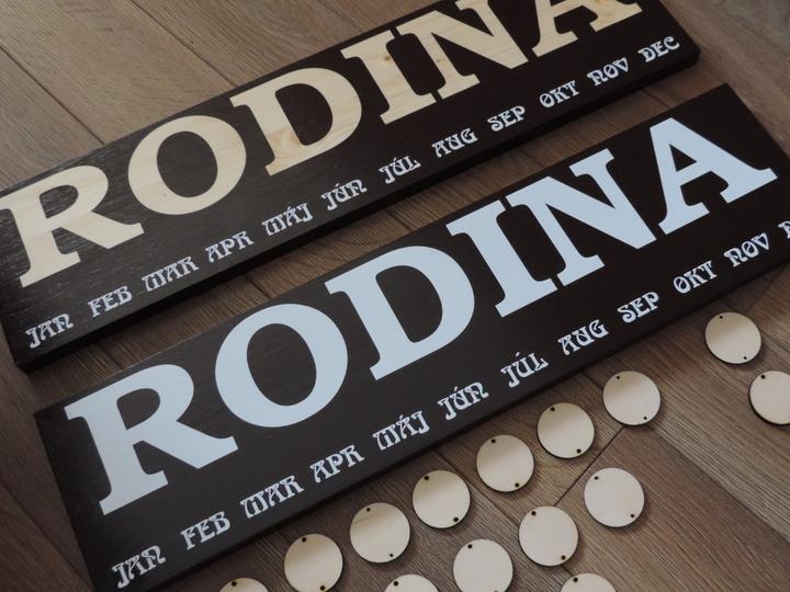 rodinné kalendáre, farba čoko hnedá s natúr nápisom RODINA a palysander s bielym nápisom RODINA. drevené krúžky 30ks