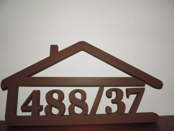 súpisné číslo na dom v tvare domčeka - 6 číslic - farba hnedá