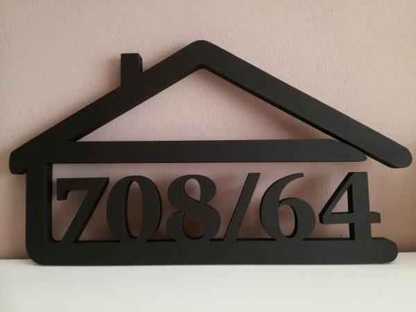 súpisné číslo na dom v tvare domčeka - 6 číslic - farba čierna