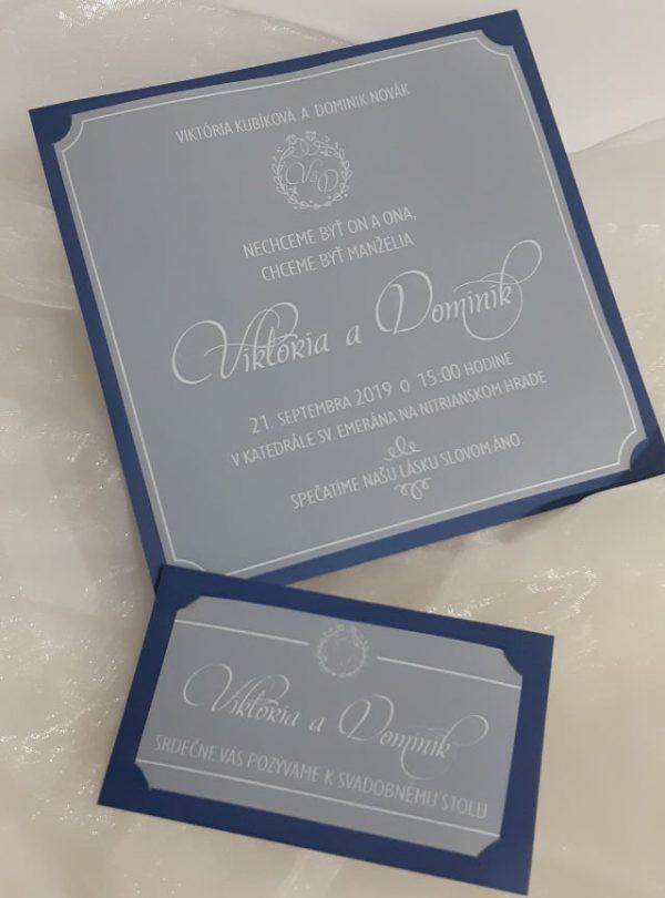 Svadobné oznémenia a pzvánky, Viktória a Dominik, modrý podklad, priehladné a biela tlač