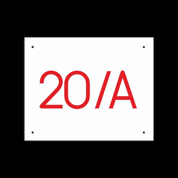 POPISNÉ ČÍSLO DOMU na tabuľke 20X25cm biela, červené číslice, bez rámu a bez olemovania