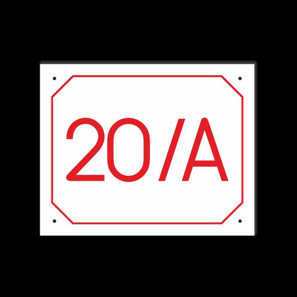 POPISNÉ ČÍSLO DOMU na tabuľke 20X25cm biela, červené číslice a červený rám