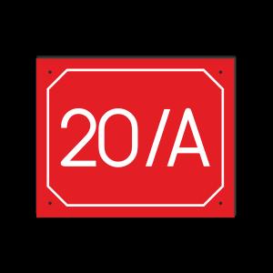 POPISNÉ ČÍSLO DOMU na tabuľke 20X25cm červená, biele číslice