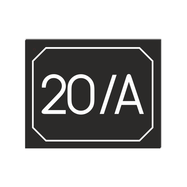 POPISNÉ ČÍSLO DOMU na tabuľke 20X25cm čierna, biele číslice