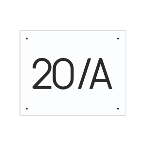 POPISNÉ ČÍSLO DOMU na tabuľke 20X25cm biela, čierne číslice, bez rámu a bez olemovania
