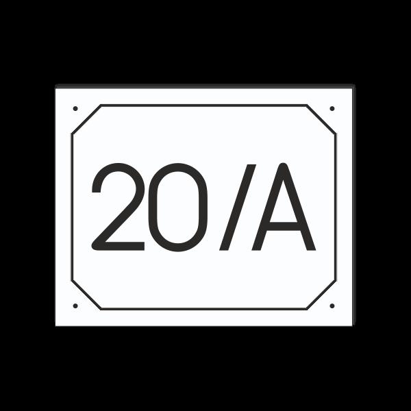 POPISNÉ ČÍSLO DOMU na tabuľke 20X25cm biela, čierne číslice a čierny rám