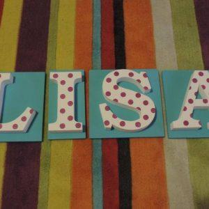 detské meno na stenu, vzor LISA
