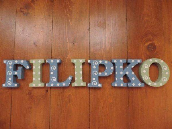 detské meno na stenu, vzor Filipko