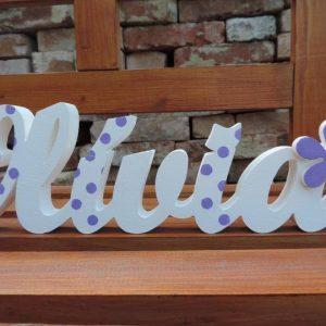 detské meno na stenu, vzor Olívia s kvietkom