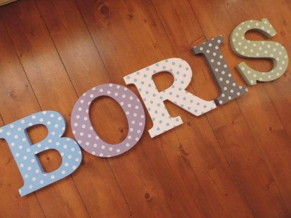 detské meno na stenu, vzor BORIS