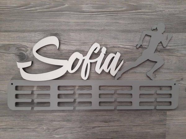 Držiak na medalie bežkyňa sivý Sofia
