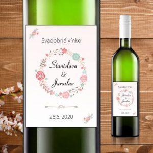 Etikety na fľaše motív bledo ružové