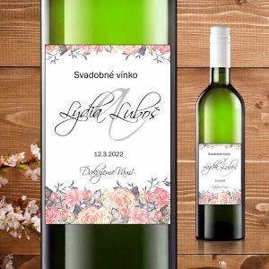 Etikety na fľaše motív rám z ruží