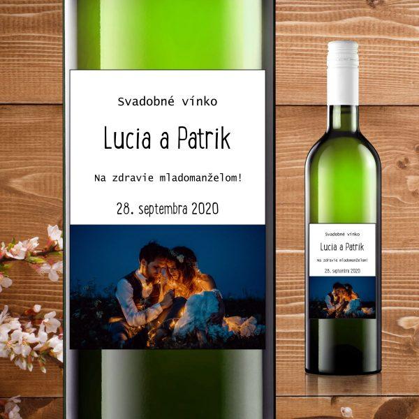 Etikety na fľaše motív modrý s fotkou