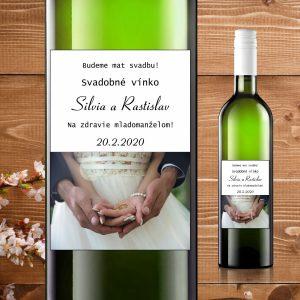 Etikety na fľaše motív biele šaty a obrúčky