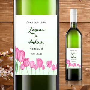 Etikety na fľaše motív ružové tulipány