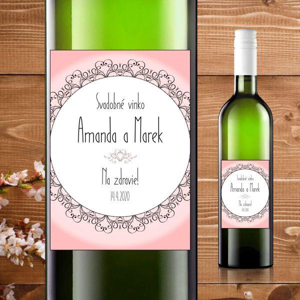 Etikety na fľaše motív ružové so srdiečkami