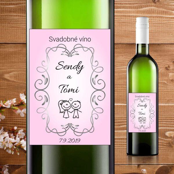 Etikety na fľaše motív ružové nevesta ženích