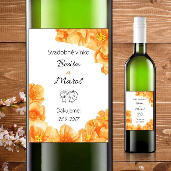 Etikety na fľaše motív oranžové kvety