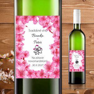 Etikety na fľaše motív čerešňové kvety