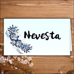 menovka na stôl -nevesta- modré kvety