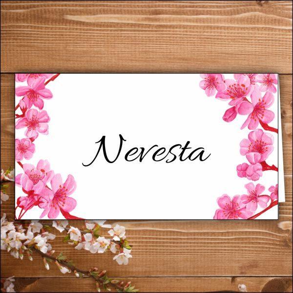 menovka na stôl -nevesta-čerešňové kvety