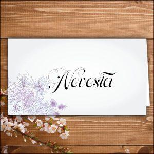 menovka na stôl -nevesta-fialové kvety