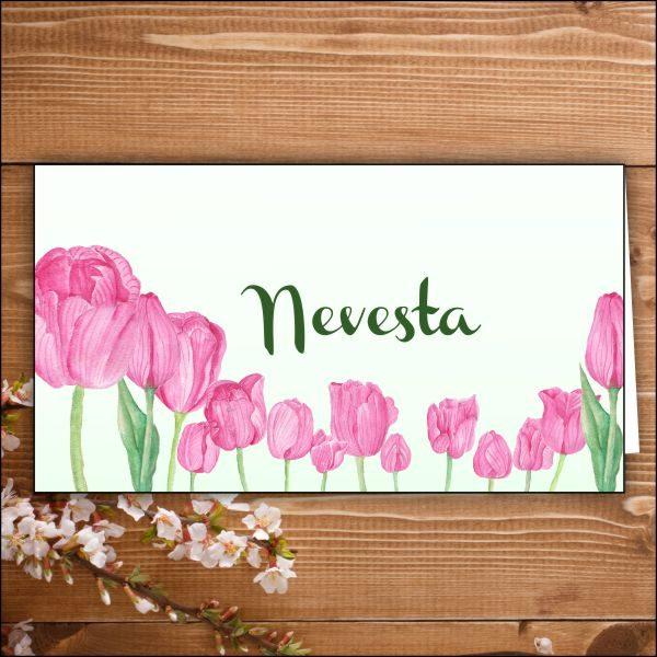 menovka na stôl -nevesta- ružové tulipány