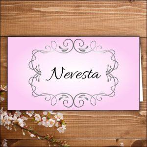 menovka na stôl -nevesta-ružové nevesta ženích