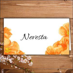 menovka na stôl -nevesta-oranžové kvety