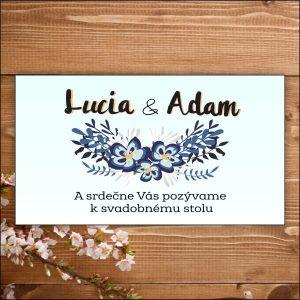 Svadobné pozvánky- modré kvety