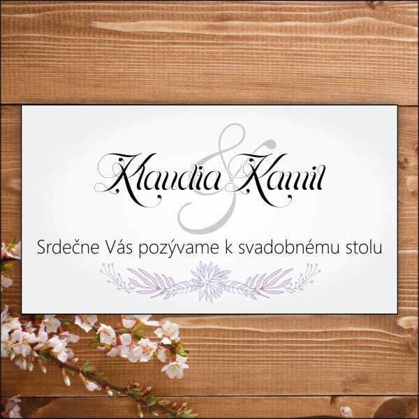 Svadobné pozvánky-fialové kvety