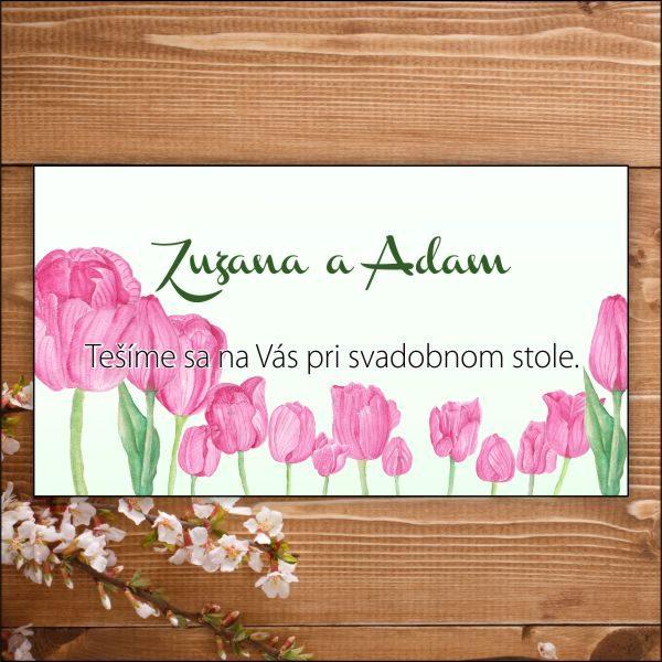 Svadobné pozvánky- ružové tulipány