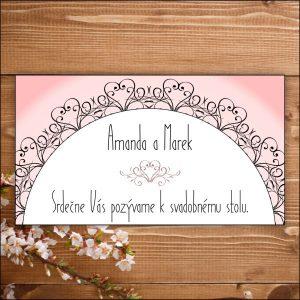 Svadobné pozvánky- ružové srdiečka